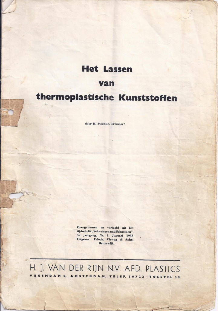 lassen van thermoplastische kunststoffen 1953