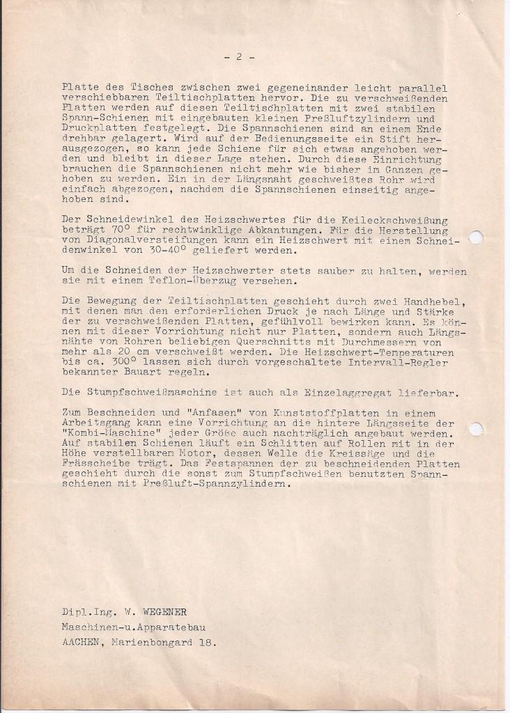 Wegener stomplasbank 1963