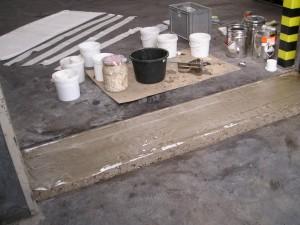 Polyester, epoxy, vloer, reparatie vloeistofdichte vloer