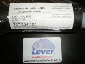 "Dubbelwandige chemie leiding, PFA /HDPE T-stuk, +GF+, George Fischer, 737.204.104, 50-1/2"" , PFA flair,"