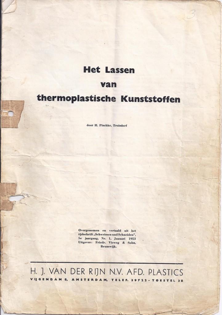 lassen van thermoplastische kunststoffen 1953